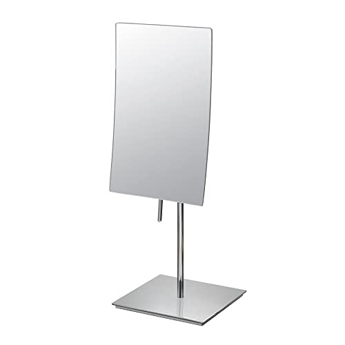 DOWRY Rectangular Vanity Mirror with 3X Magnification,Made of 304 stainless steel, Polished Chrome 2234 3x Magnification, Chrome