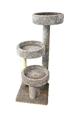 New Cat Condos Carpeted Solid Wood Cat Tree Tower, Neutral