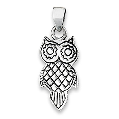 Bird Owl Pendant .925 Sterling Silver Geometric Pattern Animal Oxidized Charm Jewelry Making Supply Pendant Bracelet DIY Crafting by Wholesale Charms