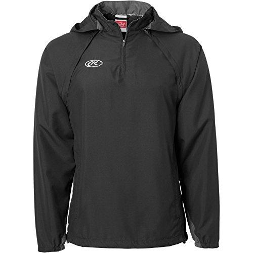 Rawlings Sporting Goods Mens Adult Jacket W Removable Sleeves & Hood, Black, Large ()