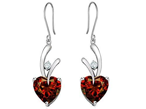 Star K 8mm Heart Shape Simulated Garnet Hanging Hook Love Earrings Sterling Silver