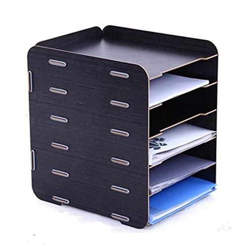 Oak-Pine 6 Tier Detachable Wooden Grain Design Desk A4 File Letter Storage Tray Desktop Cabinet Box Case Office Organizer Rack Shelf - Wooden Letters Pine