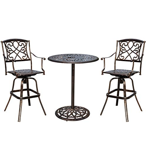Sundale Outdoor 2 Pcs Counter Height Swivel Bar Stool and Bar Table Set All Weather Patio Furniture Bistro Set with Heavy Duty Aluminum Frame, Bronze (Size For 36 Counter What Bar Stool Inch)