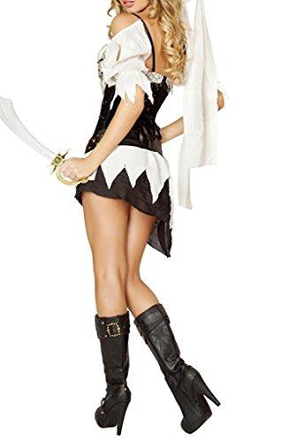 Sims Costume Ideas (YNChiffonier Fashion Sexy Cinched Waist Pirate Girl Costume Black/WhiteMedium)