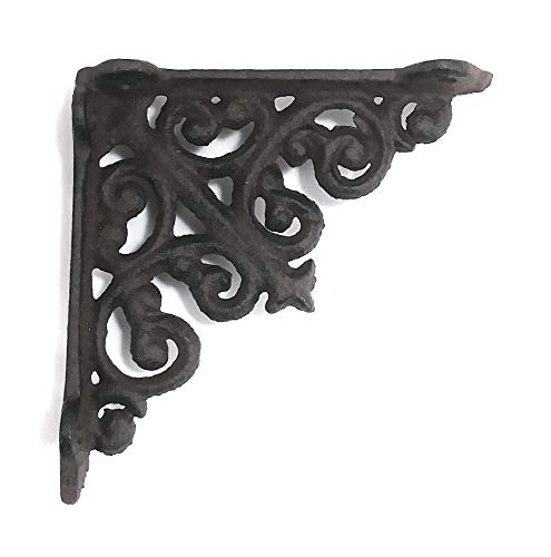 - Cast Iron - 4 Inch - Thick Victorian Shelf Bracket - Scroll Design - All-Purpose Hanger - Black - Primitive Design - Indoor or Outdoor Use ()