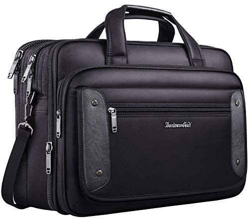 17 inch Laptop Bag, Business Travel Bag, Expandable Large Hybrid Shoulder Bag, Water Resisatant Business Messenger Briefcases for Men Fits 17.3 Inch Laptop, Computer, Tablet-Black