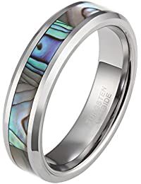 6mm 8mm Tungsten Abalone Shell Inlay Ring for Men Women Natural Comfort Fit Wedding Band