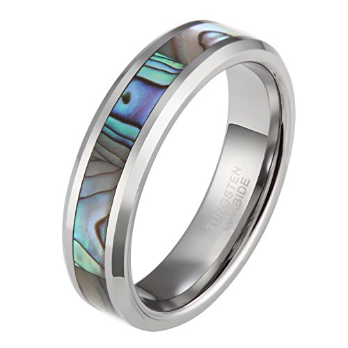 Tungsten Abalone Shell Inlay Couple Ring Set Wedding Band Beveled Edge 6mm 8mm (Inlay Tungsten Wedding Band)