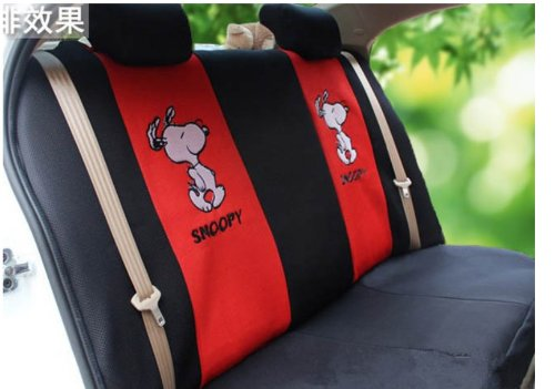 Snoopy Black Red Car Seat Covers 18pcs Cartooon Front Driver Saddle Cushion Neckrest Steering Wheel