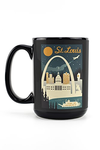 - St. Louis, Missouri - Retro Skyline (15oz Black Ceramic Mug - Dishwasher and Microwave Safe)