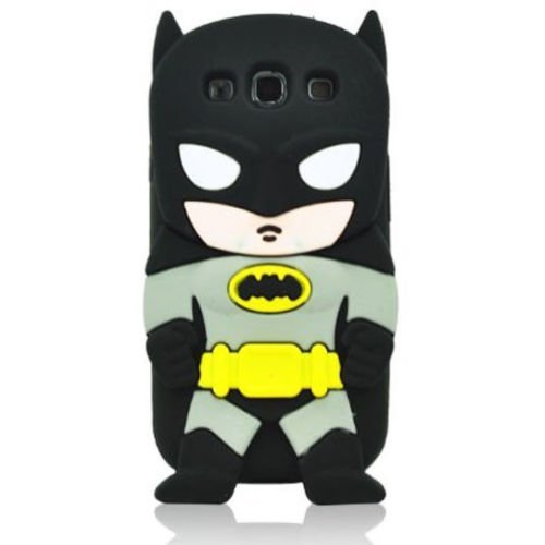 3D Cartoon Superhero Bat Girl Bat Man Spider Man Captain Thor Joker Rubber Back Cover Soft Silicon Case (for Samsung Galaxy S6 G9200 -Black Bat Man)