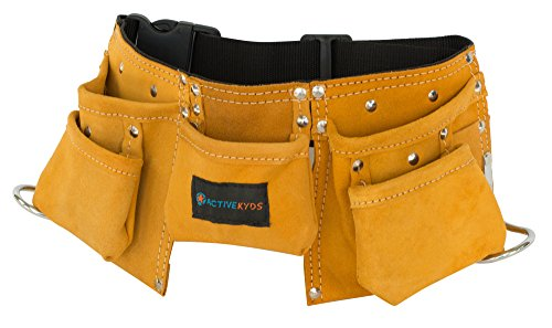Active Kyds Real Leather Kids Tool Belt/Child's Tool Pouch for Costumes Dress Up Role Play (Brown)]()