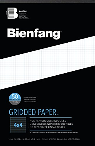 Bienfang Designer Grid Paper, 50 Sheets, 11-Inch by 17-Inch Pad, 4 by 4 Cross Section ()