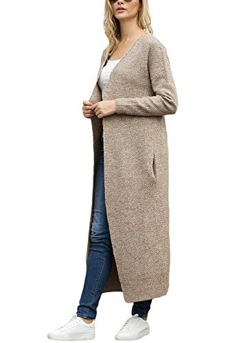 Lookbook Store Women's Casual Open Front Knit Outerwear Pocket Long Cardigan Sweater Khaki Size L by Lookbook Store (Image #2)
