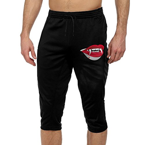 Men's Bloody Lips Halloween Comfortable Sports Pants Gym Shorts Leisure Cropped Trousers With Drawstring