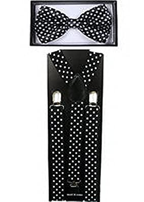Scott Allah design Mens Accessories Polka Dots Black and White SUSPENDERS and BOW TIE COMBO SET Adjustable Suspender