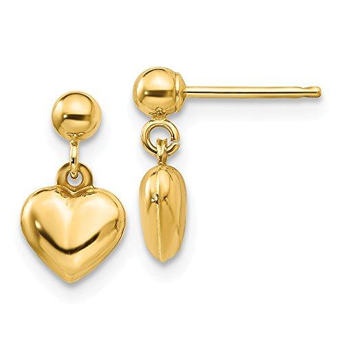 Mia Diamonds 14k Yellow Gold Madi K Puffed Heart Dangle Earrings (11mm x 6mm)