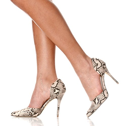 On Nora D'Orsay Toe Heels Pointed Python Pump Slip Riverberry Women's Beige RSx5w