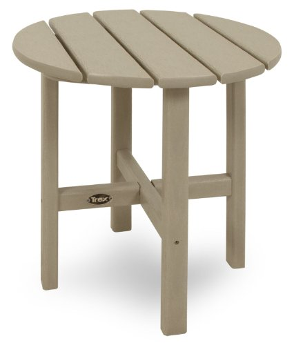 Trex Outdoor Furniture Cape Cod Round 18-Inch Side Table, Sand Castle