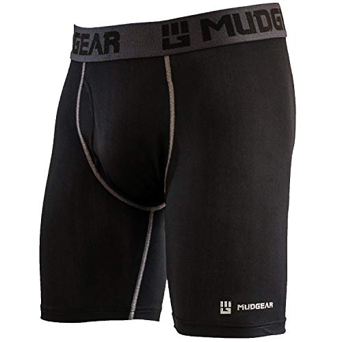 MudGear Performance Boxer Brief for Men, Breathable Wicking Base Layer Underwear Packed with Tech for Sports and Running (Large (36-38), Black/Gray) by MudGear