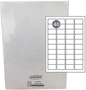 pas de Jam Encre Laser ou Copieur Quantit/é Options - 45.7 X 25.4mm Avery Compatible: L7654 Stickers Fabriqu/é en Eu Inerra Adh/ésif Etiquettes Vierges Adresse Blanc Mate 40 par A4 Feuille -