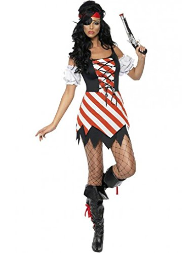 Fever Pirate Costume Red/White/Black Small