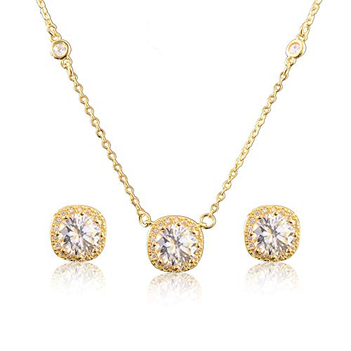 Mycitta Bridal Jewelry Set for Women - 18k Yellow Gold Plated 925 Sterling Silver Dainty Round Halo CZ Crystal Cubic Zirconia Rhinestone Necklace Earrings Set for Wedding Party Prom