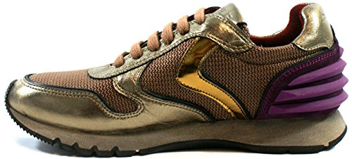 Voile Blanche Woman Running Sneaker lace-up Julia Power Nappa Laminata Leather Bronzo Canna di Fucile Bronzo b7MSs
