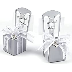 surepromise 50x Silver Grey Chair Wedding Favour Card Holder Laser Paper Cut Boxes w Ribbons