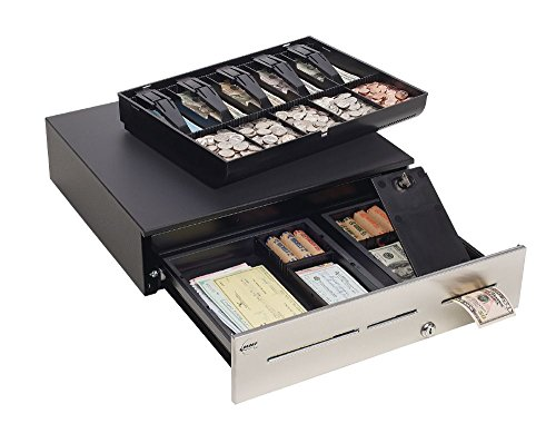 MMF Industries POS Advantage Cash Drawer for US Currency with Stainless Front and Removable Tray, LockIt Feature and Kwick Cable, 16.7 by 4.7 by 18-Inch, Black (Mmf Pos Cash Drawer)