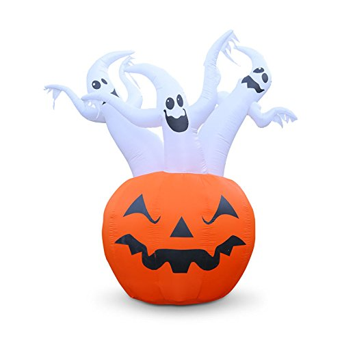 Holidayana 8 Ft. Tall. Three Ghosts and Pumpkin Inflatable Halloween Lawn Decoration Jack - O - Lantern Halloween Blow Up