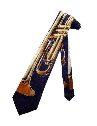 Steven Harris Mens Trumpet Music Instrument Necktie - Black - One Size Neck Tie