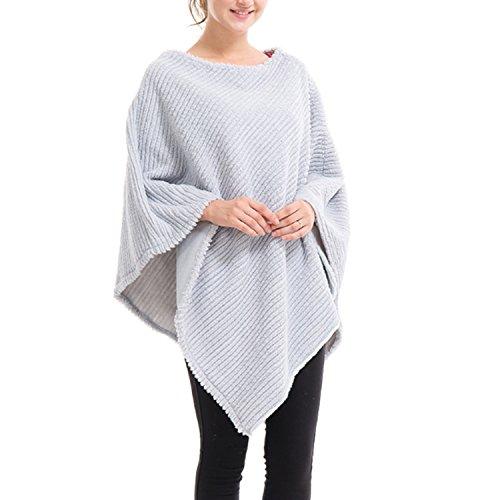 QQI Women Elegant Crochet Knit V Neck Oversized Poncho Cape Scialle Wrap lavorato a maglia maglione Grigio