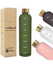 Healthywish - Motivational Sports Water Bottle with Time Markings, BPA Free frosted Tritan Plastic , Reusable, Drop Resistant and Eco Friendly Drink Bottle 1 Litre | 32 Oz