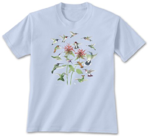 Hummingbirds ~ XX-Large Ladies T-shirt Light Blue, Novelty Gift Apparel
