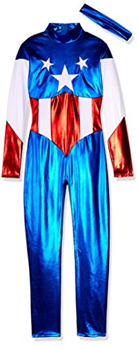 Forplay Women's Star Spangled Hero Catsuit with Stripe Waist and Headband, Royal Blue, Medium/Large - Sexy Captain America Costumes