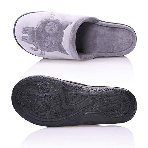 Cat Shoes Winter Non Cute TRUEHAN House Animal Slippers Gray Velvet Warm Womens Plush Slip Bedroom aRE8XWqpn