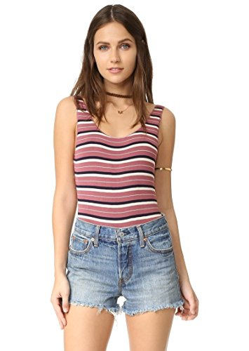 Free People Womens Ribbed Knit Striped Bodysuit Pink (Ribbed Striped Bodysuit)