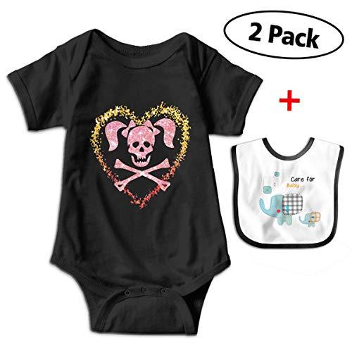 Leopoldson Glitter Skull Love Halloween Baby Bodysuits Short Sleeve Infant Onesies with Baby Bib -