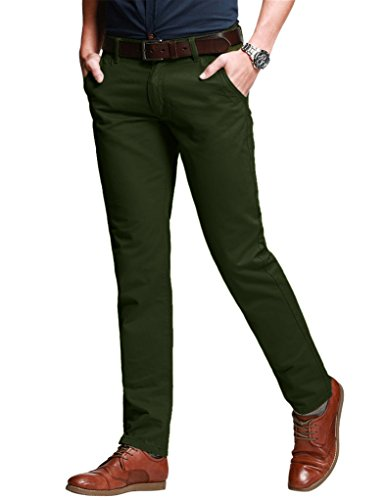 Match Men's Slim Fit Tapered Stretchy Casual Pants (38W x 31L, 8050 Army Green)