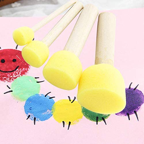 andy cool Premium Quality 5pcs Assorted Round Paint Foam Sponge Brush Set Painting Tools Stippler for Kids Painting Crafts and DIY