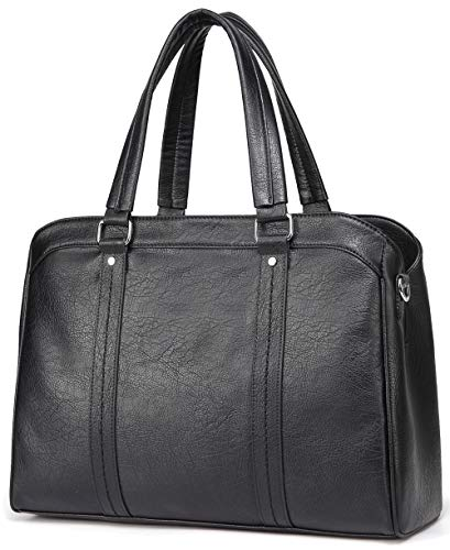 Triple Laptop Bag Leather Compartment - Laptop Bag for Women, Vaschy Faux Leather Top-Handle Water Resistant Business Satchel Handbag 15.6inch Laptop Tote for Work with Detachable Shoulder Strap