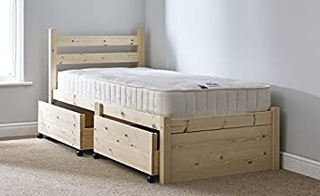 small single 2ft 6 wooden storage pine bed frame can be used by adults - Used Bed Frames