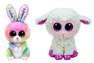 "2017 Set Of 2 EASTER Twinkle Lamb and Bubby Bunny 6"" Plush Ty Beanie Boos Toy"
