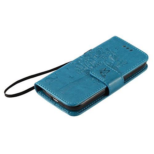 Funda con tapa de alta calidad, con soporte, fina, elegante, de piel sintética, para Apple iPhone, cuidado fácil, diseño moderno, antiarañazos y antigolpes, Samsung Galaxy S4 Mini S4Mini i9190, azul