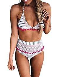b2939143a4 Women s High Waist Two Pieces Bikini Set Padded Stripe Tassel Swimsuit