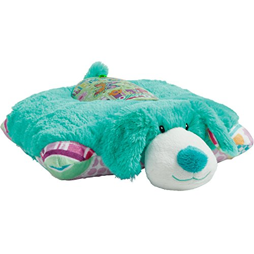41nHQ%2BEL85L - Pillow Pets Sleeptime Lites Colorful Teal Puppy Stuffed Animal Plush Night Light