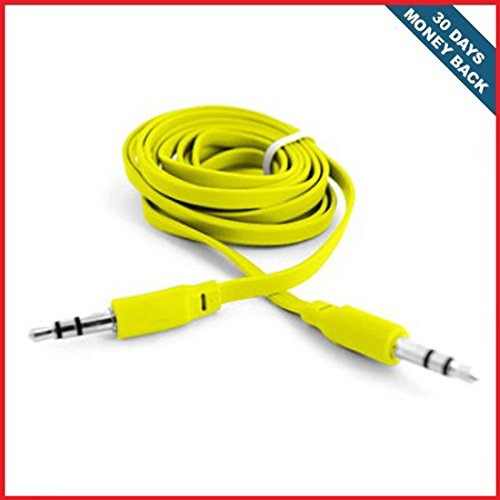 Yellow-35mm-Stereo-Mini-Port-Auxiliary-Audio-Flat-Cable-For-Huawei-U8150-T-Mobile-Comet