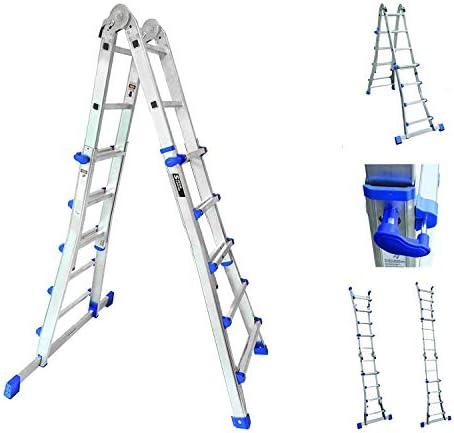 Sistema de combinación de escaleras de mano, multifuncional, telescópico, 4 x 5 peldaños; escalera de extensión de 4,7 m: Amazon.es: Bricolaje y herramientas