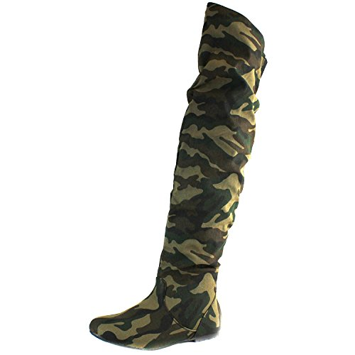 ashion-Hi Over-the-Knee Thigh High Flat Slouchly Shaft Low Heel Boots Camouflage SV, 5.5 B(M) US ()